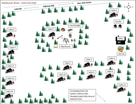 Pinetop, Az Cabins Resort Map At Northwoods Cabins 165 E White Mountain Blvd , Pinetop-Lakeside, 85935, United States